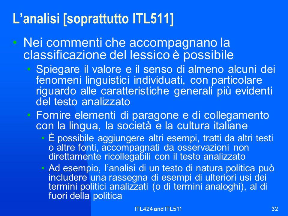 L'analisi [soprattutto ITL511]